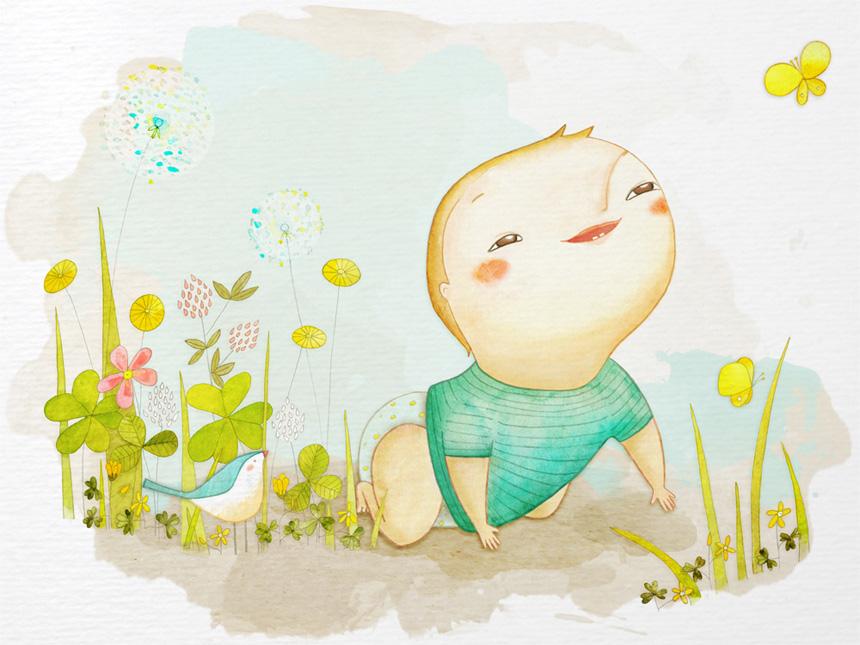 Bebé al sol, por Úrsula Epos