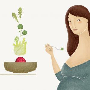 ilustración platónika de embarazada saludable